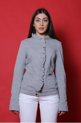 Liu. Jo maglia donna cotone taglia L felpa grigio rouches  manica lunga