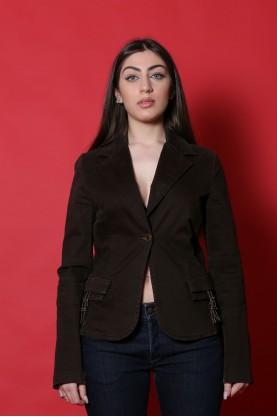 Paola Frani Scrupoli  Giacca donna Cotone taglia 44 marrone bottoni fibbia