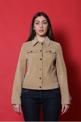 New Penny  Giacca donna Cotone taglia 44 beige velluto bottoni