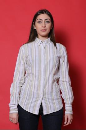 Woolrich Donna camicia cotone taglia M bianco righe manica lunga
