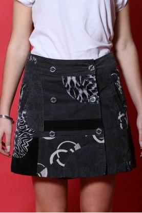 Desigual gonna donna cotone taglia 38 jeans stampa nero longuette