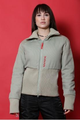 Skunfunk Giacca donna Cotone taglia 44 verde lana giubbino