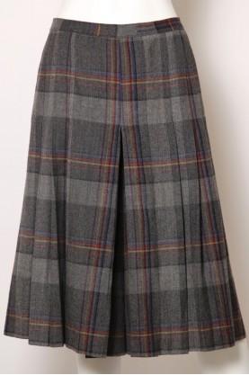 VINTAGE Gonna donna scozzese Lana Lunga Pantalone plissettata tg 46 - L