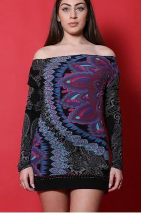 Desigual abito maglia donna cotone taglia M corto jersey fantasia nero viola