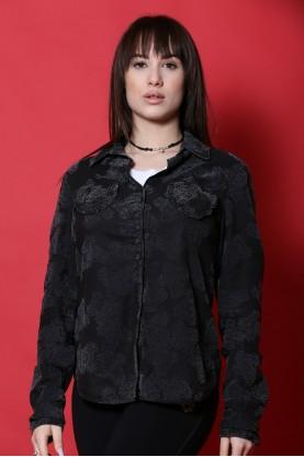 Gas Donna camicia cotone taglia M fantasia nera manica lunga