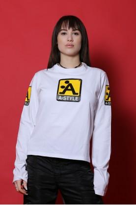 A-Style maglia donna cotone taglia S shirt bianco manica lunga
