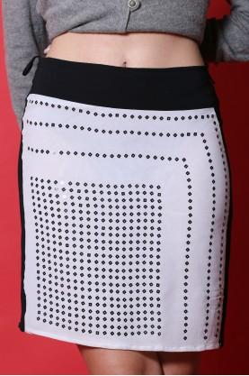 Penny Black gonna donna cotone nylon taglia 42 longuette bianco nero