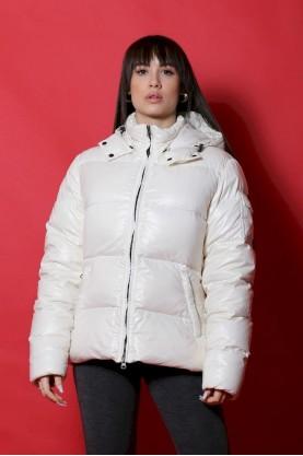 Best Company Giacca donna Nylon taglia L Bianco piumino con cappuccio