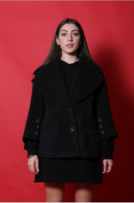 Elena Mirò Giacca Cappotto donna taglia 46 comoda lana grigio manica 3/4