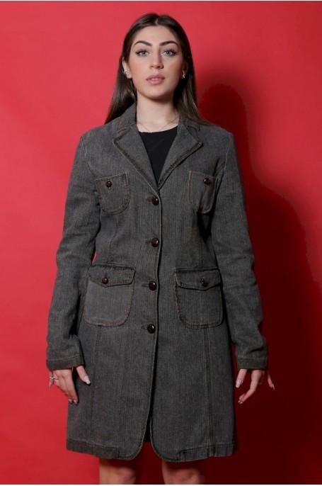 Guru Giacca donna cappotto taglia L grigio tweed lungo English classic