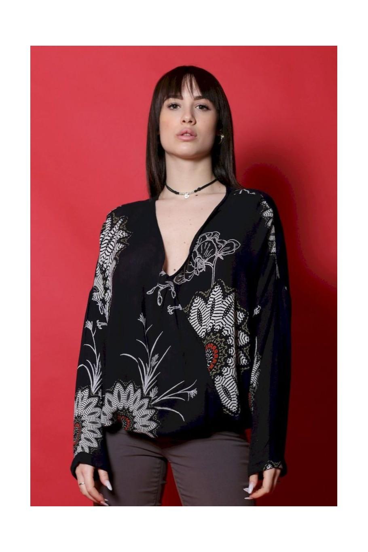 Desigual maglia donna cotone taglia M oversize jersey nero fiori