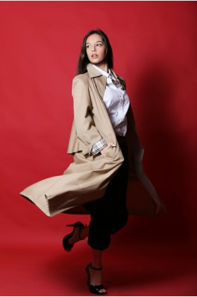 Guy LaRoche donna Trench taglia 38/40 beige lungo extra large fit