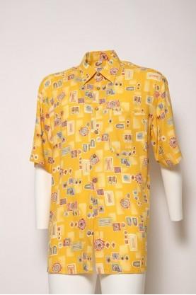 VINTAGE camicia uomo gialla '90 fiorucci style 2  tgL  cotone shirt manica corta
