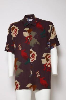 VINTAGE camicia uomo marrone  '90  tg44 cotone manica corta fantasia forme
