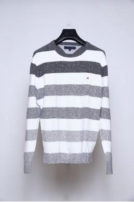 TOMMY HILFIGER maglia uomo lana tg XL fascia bianco grigio maglioncino
