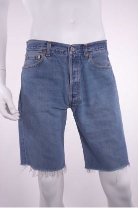 LEVIS  501 uomo jeans tg 50 taglio bermuda denim blu chiaro