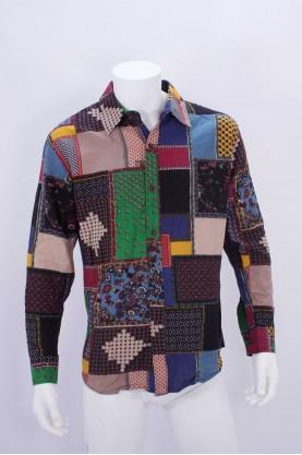 Vintage Camicia Uomo Cotone Taglia 50 Manica Lunga Patchwork Slim Chemise