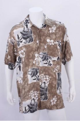 Vintage Camicia Uomo Cotone Taglia 46 Marrone Manica Corta Regular Casual