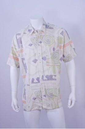 Vintage camicia uomo tessuto cotone  tg XL fantasia manica corta beige cotone