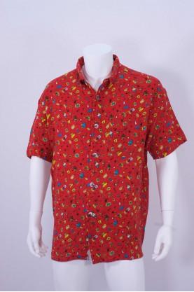 Vintage signum camicia uomo tessuto cotone tg XL regular rosso