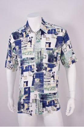Vintage camicia uomo tessuto cotone tg L slim fit fantasia astratta