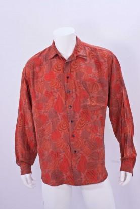 Vintage camicia uomo tessuto cotone tg M floreale arancio