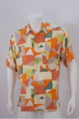 Vintage camicia uomo tg XL manica corta fantasia arancio