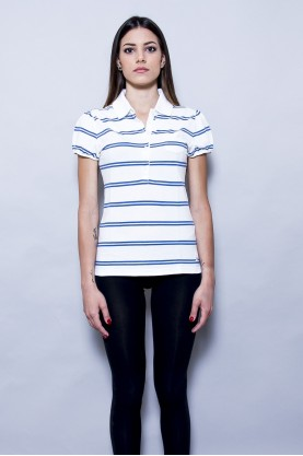TOMMY HILFIGER polo shirt cotone donna tg S blu bianco cotton