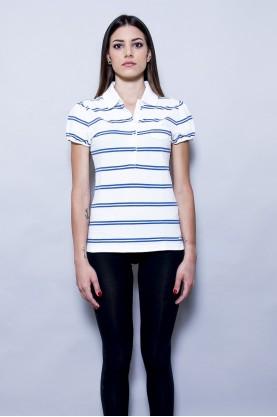 TOMMY HILFIGER t-shirt donna tessuto cotone tg S  slim fit blu /bianco