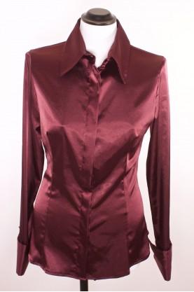 Vintage camicia donna raso sintetico taglia 46 manica lunga maglia bordeaux lucido