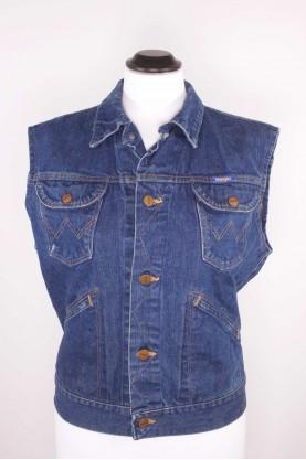 WRANGLER Giacca uomo smanicato tessuto cotone jeans tg 44 regular blu