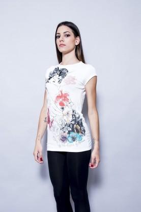 GUESS T-Shirt donna cotone manica corta tg M maglia design geisha flower