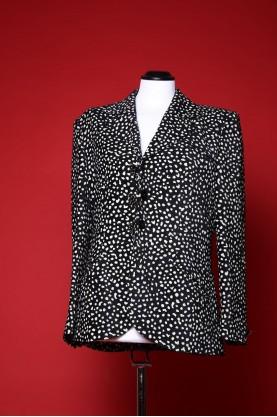 Rocco barocco giacca donna tg 46 tessuto cotone over size pois bianco e nero