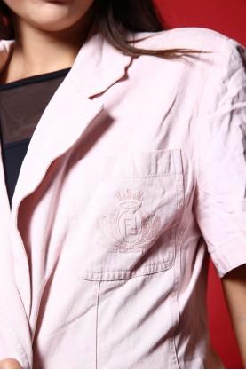 Fendi giacca lunga donna cotone tg. 44 regular manica corta rosa