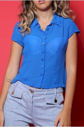 Versace Camicia Donna Misto Cotone Taglia 46 Fit Blu Bottoni Slim Fit Corta Chemise
