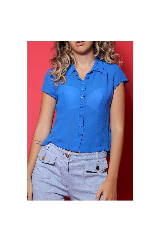 Versace camicia donna con bottoncini tessuto viscosa tg 46 slim fit blu