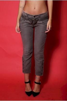 Cavalli Jeans Pantalone Donna Cotone Taglia 40 Modello Capri Grigio Fit