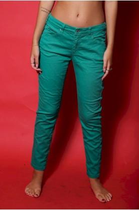 Armani pantalone donna tessuto cotone tg 40 slim fit verde