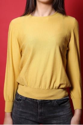 Luisa spagnoli maglione donna tessuto lana tg M regular manica lunga senape