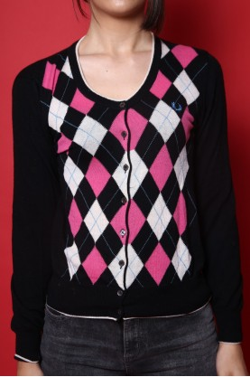 Fred perry  maglione donna tessuto lana tg M regular manica lunga fantasia rombi