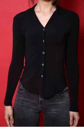 Moschino camicia donna lycra tg 42 slim fit elasticizzato manica lunga nero