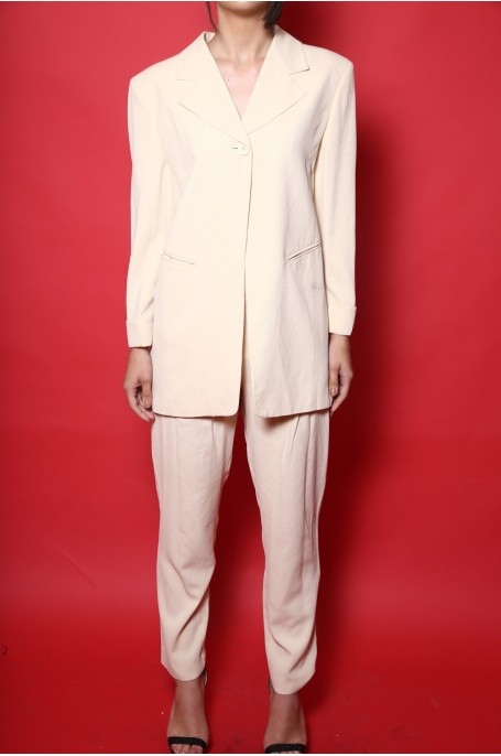 Byblos completo vintage giacca pantalone donna tessuto seta tg L/46 over size beige chiaro
