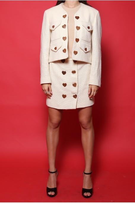 Moschino completo Giacca gonna donna tessuto lana tg 42/44 manica lunga beige chiaro