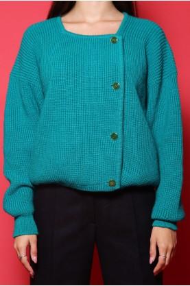 Valentino maglione cardigan vintage donna tessuto lana tg 46 over size colore verde