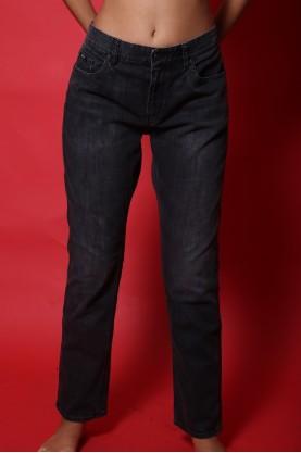 Hugo boss pantalone jeans donna tessuto cotone tg 44 vita alta nero