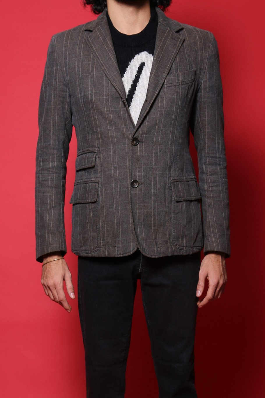 Dolce & Gabbana giacca uomo tessuto cotone tg 48 slim fit marrone