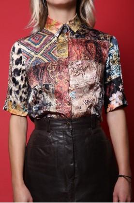 Roberto cavalli camicia vintage donna tessuto seta tg S regular multicolore