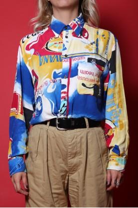 ICEBERG camicia vintage donna tessuto viscosa tg M over size multicolor