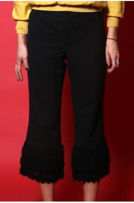 Moschino pantalone donna tessuto lana Tg 44 Nero