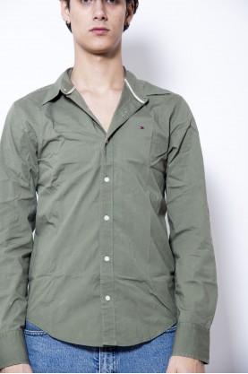 TOMMY HILFIGER camicia uomo verde sport cotone tg S-40 ricamo